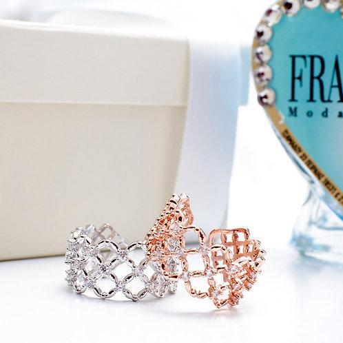 Fr7644 Πρωτότυπο πλεχτό δαχτυλίδι με κρυσταλλάκια,σε επάργυρο & επίχρυσο!