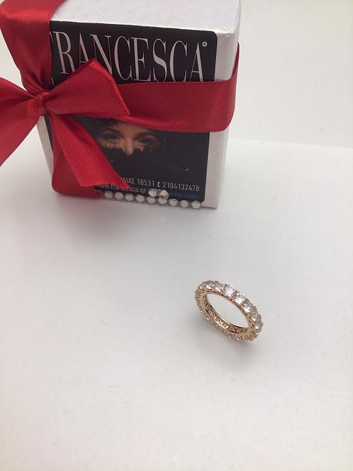 Fr8307 Ολόβερο δαχτυλίδι,με λευκά κρύσταλλα,σε ροζ χρυσή απόχρωση σε Νο 17,18,19