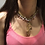 Thumbnail: Fn8530 Περίτεχνο χειροποίητο κολιέ,δεμένο με ροζ κρύσταλλα,& εντυπωσιακό μωτίφ