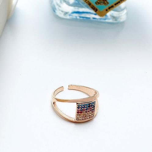 Fr7607 Λεπτό διακριτικό δαχτυλίδι,με χρωματιστές πέτρες