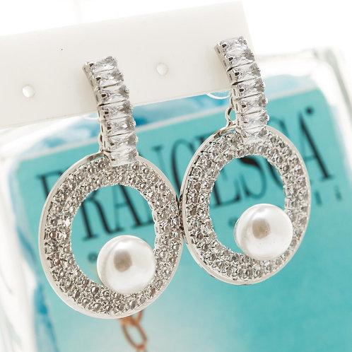 Fe7648 Επάργυρα κρεμαστά σκουλαρίκια με κρυσταλλάκια.
