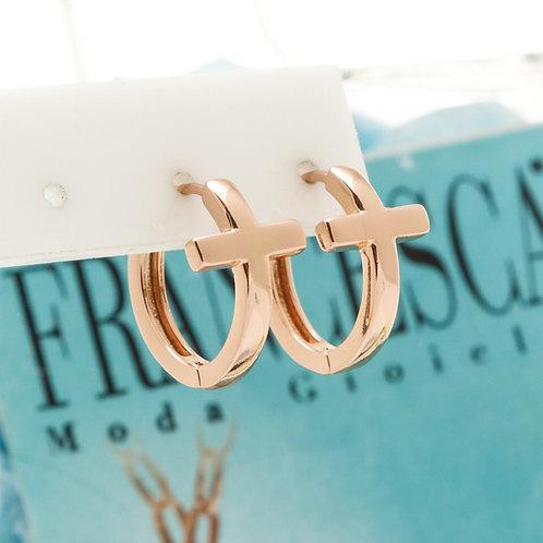 Fe8395 Σκουλαρίκια κρίκοι με Σταυρό,σε ροζ χρυσό απόχρωση.