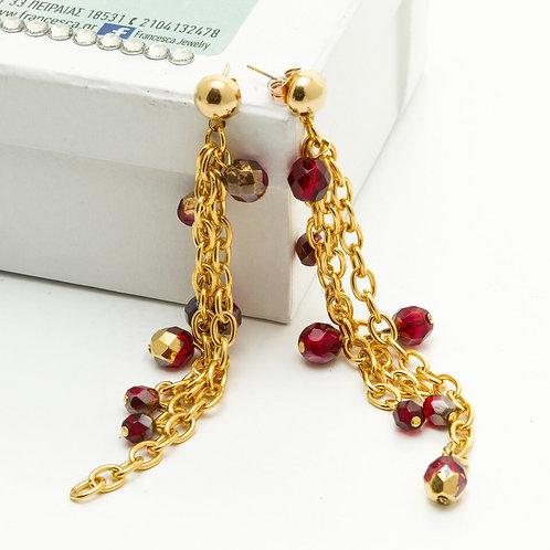 Fe8249 Κρεμαστά σκουλαρίκια με αλυσίδες και κόκκινες πέτρες.