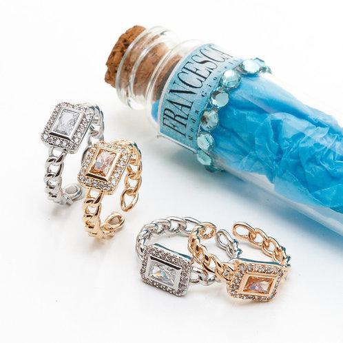Fr7550 Αριστοκρατικό δαχτυλίδι με λεπτά κρυσταλλάκια,σε ασημί & ροζ χρυσό χρώμα.