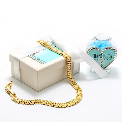 Fn7281 Snake necklace Επίχρυσο ποιοτικό κολιέ που αγκαλιάζει υπέροχα το λαιμό