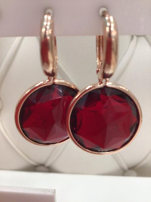Fe7451 Κρεμαστά κόκκινα σκουλαρίκια,σε ροζ χρυσό χρώμα.