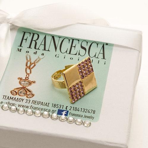 Fr7155 Χειροποίητο πρωτότυπο δαχτυλίδι, με λεπτά κρύσταλλα