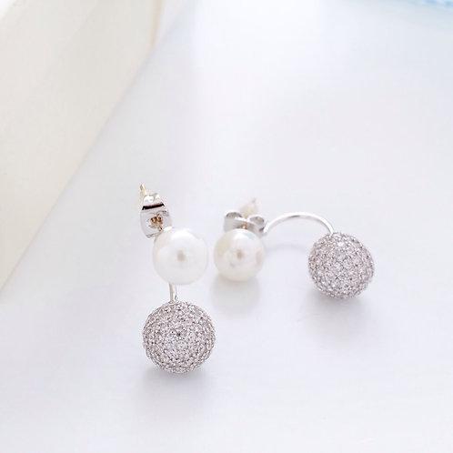 Fe7485 Glamorous!! Αριστοκρατικά σκουλαρίκια πέρλα,με λεπτά κρυσταλλάκια!