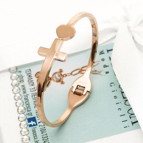 Fb8039 Minimal χειροπέδα,σε rose gold απόχρωση!