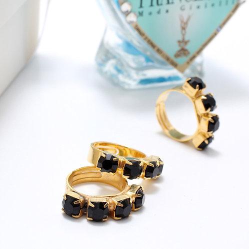 Fr7228 Επίχρυσο δαχτυλίδι με μαύρα κρύσταλλα,για όλα τα δάχτυλα!