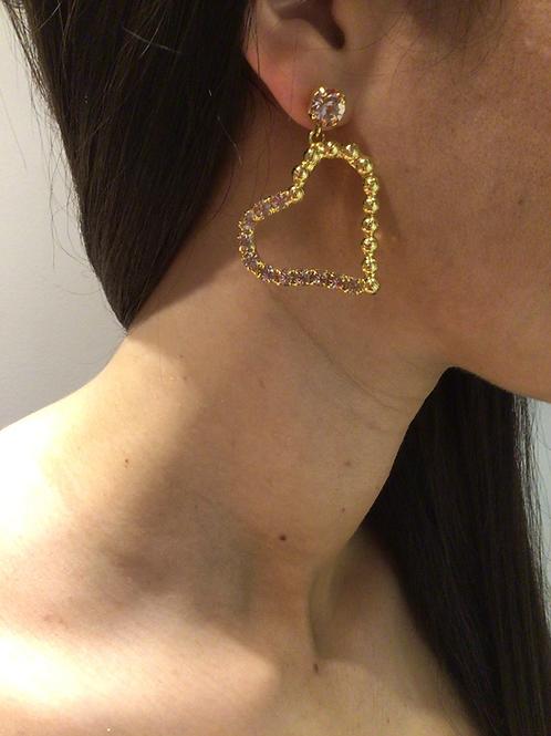 Fe7252 Εντυπωσιακά σκουλαρίκια καρδιές,με κρύσταλλα