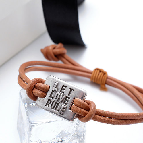 Fb7372 Ανδρικό βραχιόλι με μήνυμα let love Rule σε υπέροχη συσκευασία