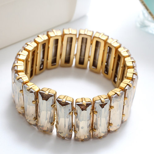 Fb7215 Exclusive bracelet !! Ελαστικό βραχιόλι με υπέροχα μελί κρύσταλλα
