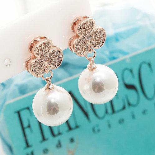 Fe7123 Exclusive jewelry!Ιδιαίτερα σκουλαρίκια με πέρλα και κρυσταλλάκια & κλιπ