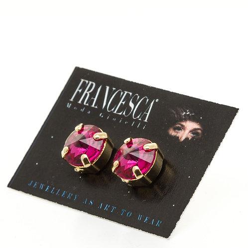 Fe7610 Λεπτά σκουλαρίκια με φούξια κρύσταλλα.