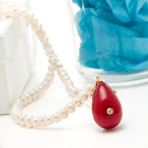 Fn8028 Μαργαριταρένιο κολιέ, με υπέροχο κόκκινο μωτίφ & λεπτά κρυσταλλάκια