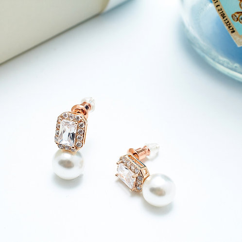 Fe7438 Αριστοκρατικά σκουλαρίκια πέρλες με κρύσταλλο