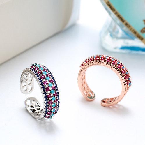Fr7391 Αριστοκρατικό δαχτυλίδι με λεπτά κρυσταλλάκια,σε επάργυρο & rose gold