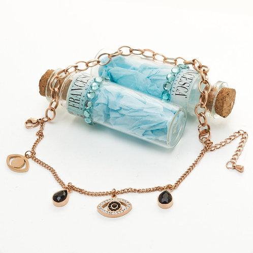 Fb8414 Ατσάλινο βραχιόλι με διπλή αλυσίδα και charms