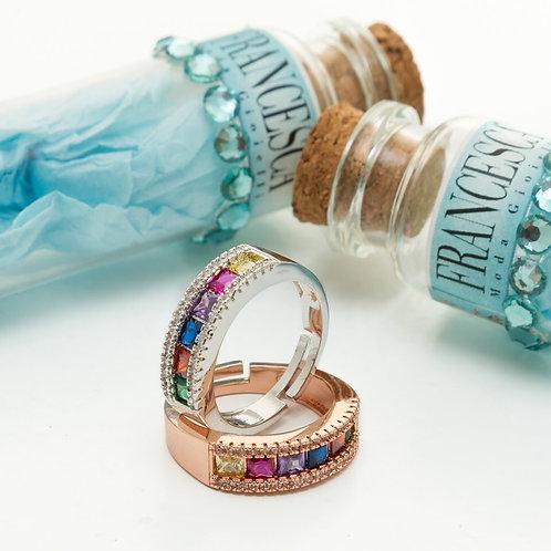 FR8068 Ατσάλινο δαχτυλίδι,με πολύχρωμα κρύσταλλα,σε 2 αποχρώσεις! Ανοιγοκλείνει!