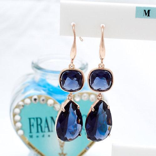 Fe7786 Πανέμορφα κρεμαστά σκουλαρίκια σε μπλε montana απόχρωση