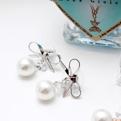Fe7191 Κρεμαστά σκουλαρίκια με κρύσταλλα & πέρλες