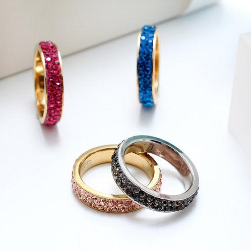 FR7360 Ολόβερα δαχτυλίδια με strass, σε πολλά χρώματα και νούμερα 17,18,19λ