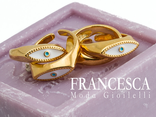 Fr8493 Μοδάτο ατσάλινο δαχτυλίδι με ματάκι για όλα τα δάχτυλα.