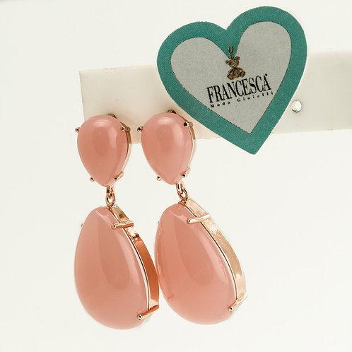 Fe8142 Υπέροχα σκουλαρίκια με ροζ πέτρες