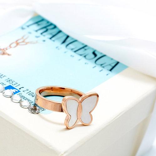 Fr7282 Υπέροχη πεταλούδα δαχτυλίδι σε επάργυρο & rose gold & νούμερα 17,18,19