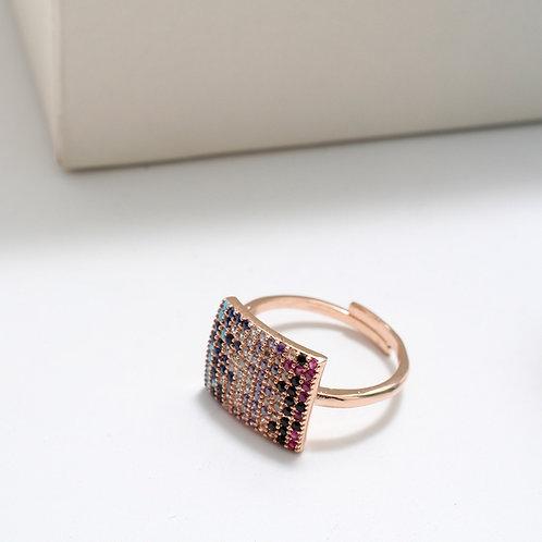 Fr7544 Επίχρυσο δαχτυλίδι με χρωματιστές πέτρες σε απόχρωση rose gold