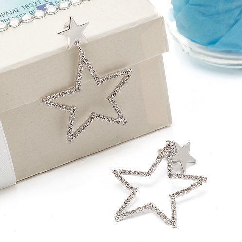 Fe7961 Επάργυρα σκουλαρίκια αστέρια,με λεπτά κρυσταλλάκια