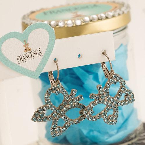 Fe7127 Γαλάζιες κρεμαστές πεταλούδες με λεπτά κρυσταλλάκια