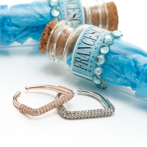 Fr8299 Minimal δαχτυλίδι ατσάλι,με λεπτά κρυσταλλάκια,σε ασημί & ροζ χρυσό χρώμα
