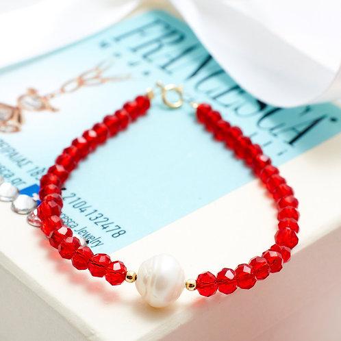 Fb7571 Βραχιόλι από Ασήμι 925* με μαργαριτάρι & κόκκινες πέτρες