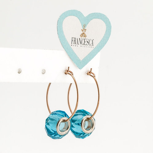 Fe8073 Λεπτά σκουλαρίκια κρίκοι, με ροδέλες murano