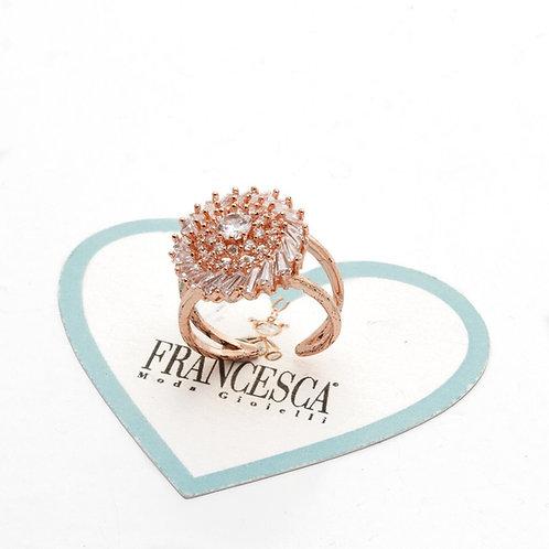 Fr8244 Ατσάλινο δαχτυλίδι rozeta,με λεπτά κρυσταλλάκια,σε ροζ χρυσό.