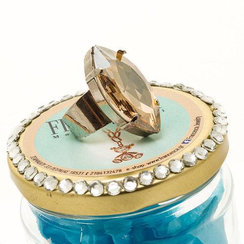 FR7551 Χειροποίητο δαχτυλίδι,με μεγάλο μελί κρύσταλλο.