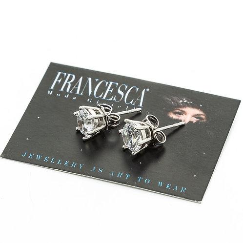 Fe8398 Σκουλαρίκια με καρφωτά κρυσταλλάκια,σε ασημί χρώμα.