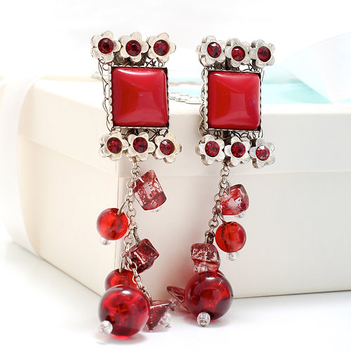 Fe7225 Χειροποίητα εντυπωσιακά σκουλαρίκια σε κόκκινες αποχρώσεις!