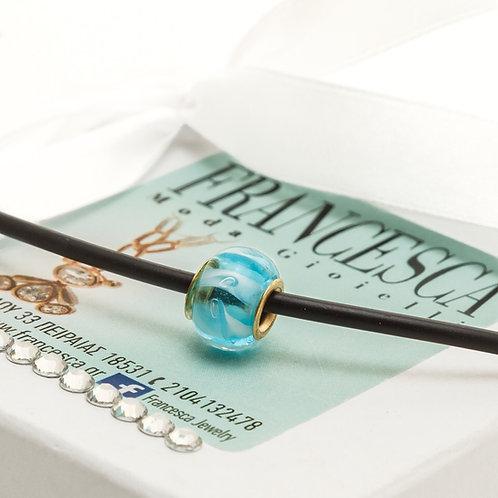 Fn7859 Κοντό κολιέ καουτσούκ με γαλάζια ροδέλα.