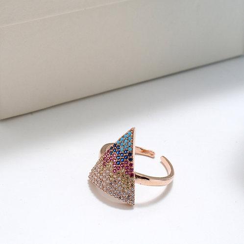 Fr7545 Επίχρυσο δαχτυλίδι με χρωματιστές πέτρες σε απόχρωση rose gold