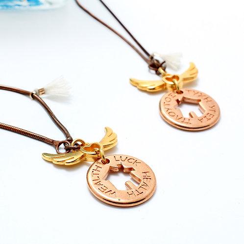 Fn7460 Wishes necklace Μακρύ κολιέ αλυσίδα με ευχές μπρος και πίσω από το μωτίφ