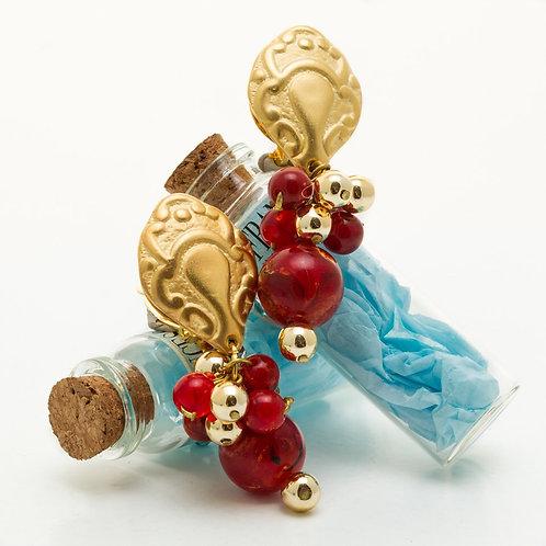 Fe8333 Κρεμαστά σκουλαρίκια κλιπ,με κόκκινες πέτρες.