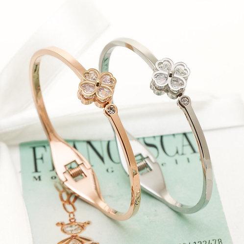 Fb7387 Φινετσάτη χειροπέδα,με λεπτά κρυσταλλάκια,σε επάργυρη,& ροζ χρυσό.