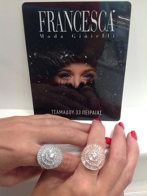 Fr7665 Exclusive ring!! Εντυπωσιακό δαχτυλίδι με κρύσταλλα,σε επάργυρο &επίχρυσο