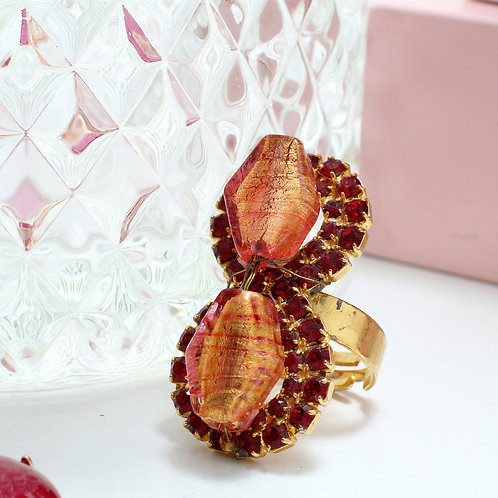 Fr7422 Χειροποίητο δαχτυλίδι,με λεπτά κρυσταλλάκια & murano!