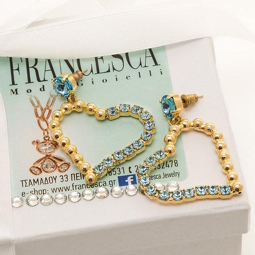 Fe7258 Εντυπωσιακά σκουλαρίκια καρδιές, με γαλάζια κρυσταλλάκια.