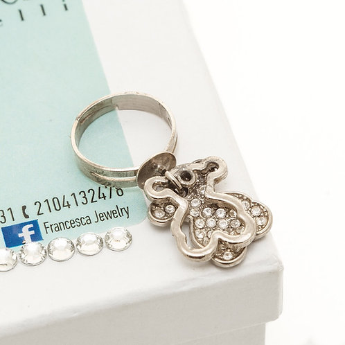 FR7812 Πρωτότυπο δαχτυλίδι με charms & λευκά κρυσταλλάκια!