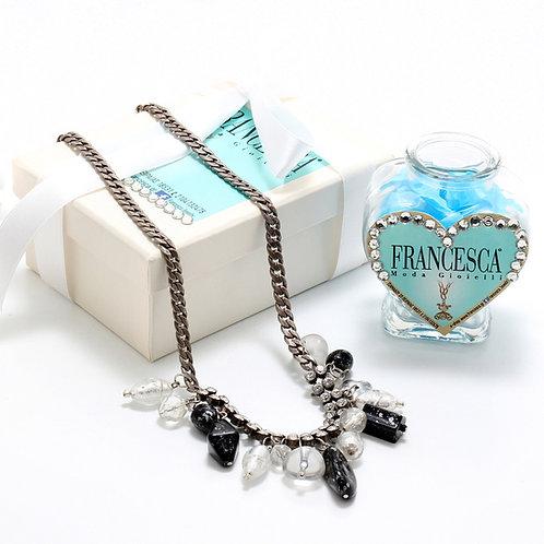 Fn7147 Χειροποίητο κολιέ αλυσίδα,με κρύσταλλα και charms!